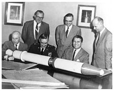 Officials with full scale model of Explorer 1