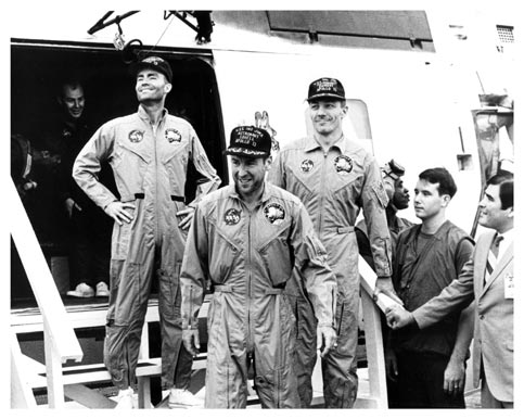 Apollo 13 crew aboard USS Iwo Jima