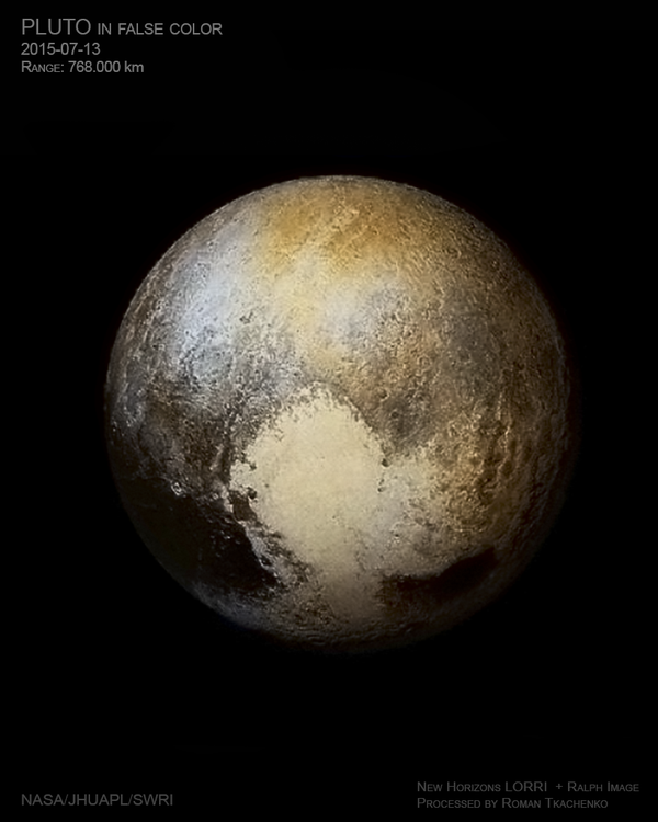 False color image of Pluto